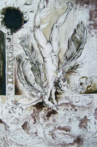 Tuschmalerei, Zeichnung, Ikarus, Zeichnungen