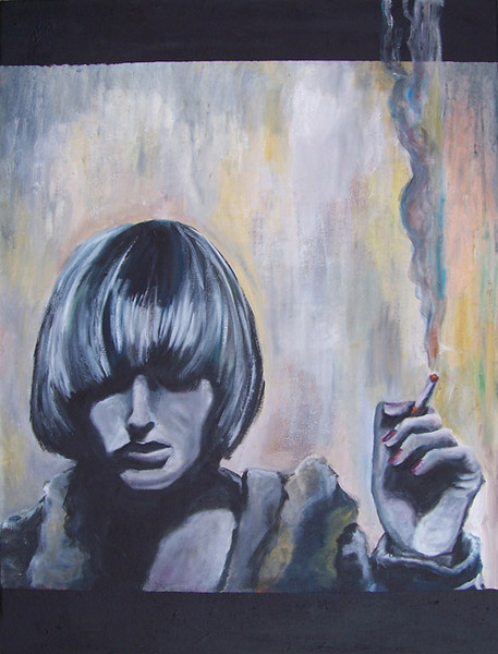 Tschick, Malerei, Zigarette, Blau, Rauch, Rauchen