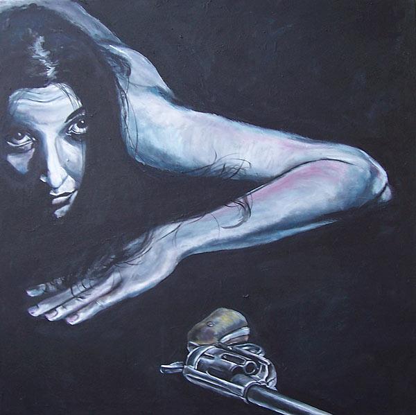 Liegen, Frau, Revolver, Malerei, Schwarz, Blau