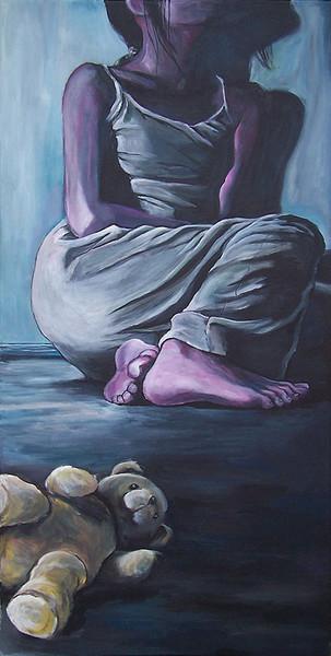 Malerei, Füsse, Blau, Mädchen, Bein, Sitzen