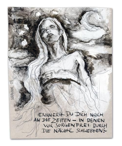 Erinnerung, Zeichnung, Tuschmalerei, Frau, Zeichnungen, Menschen