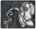 Skizze, Bauchnabel, Baby, Tuschmalerei