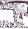 Frau, Teufel, Tuschmalerei, Zeichnung
