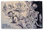 Figur, Zeichnung, Tuschmalerei, Bosch