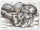Riesin, Zeichnung, Akt, Tuschmalerei