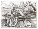 Zeichnung, Akt, Tuschmalerei, Riesin