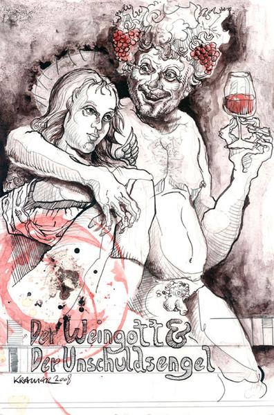 Zeichnung, Engel, Tusche, Unschuld, Bacchus, Weingott