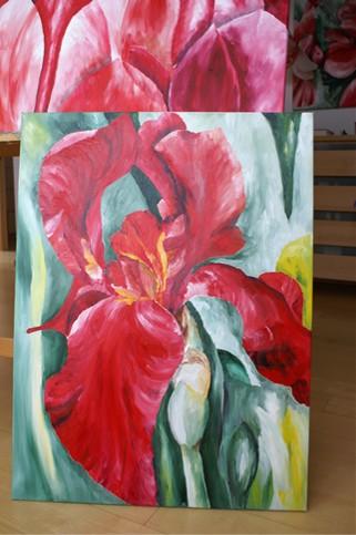 Grün, Blumen, Malerei, Rot, Lilie, Bunt