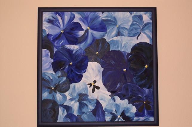 Malerei, Stiefmütterchen, Blumen, Blau, Pflanzen,