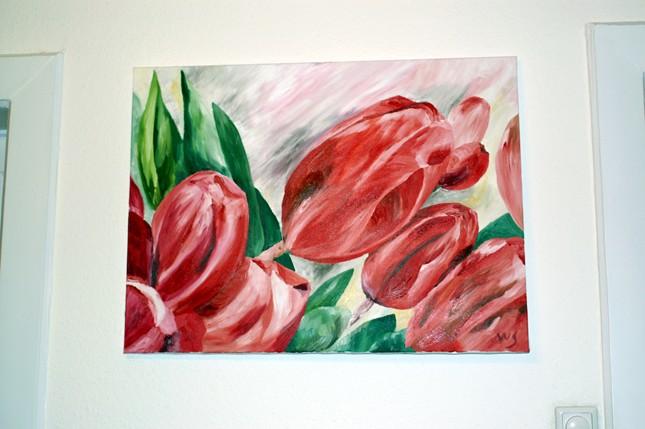 Malerei, Rot, Blumen, Tulpen, Grün, Pflanzen