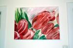 Tulpen, Grün, Malerei, Rot