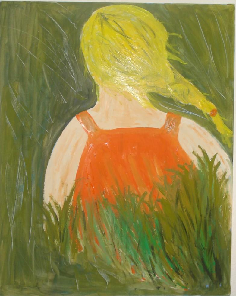 Durch das Gras - Mädchen, Naive malerei, Gras, Wiese von
