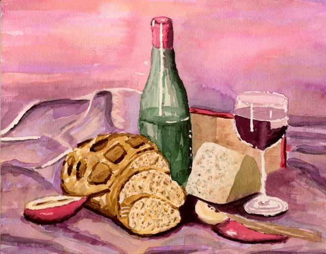 Wein, Malerei, Rotwein, Käse, Stillleben
