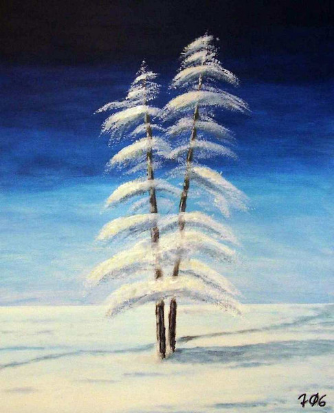 Baum, Schnee, Landschaft, Malerei, Winter