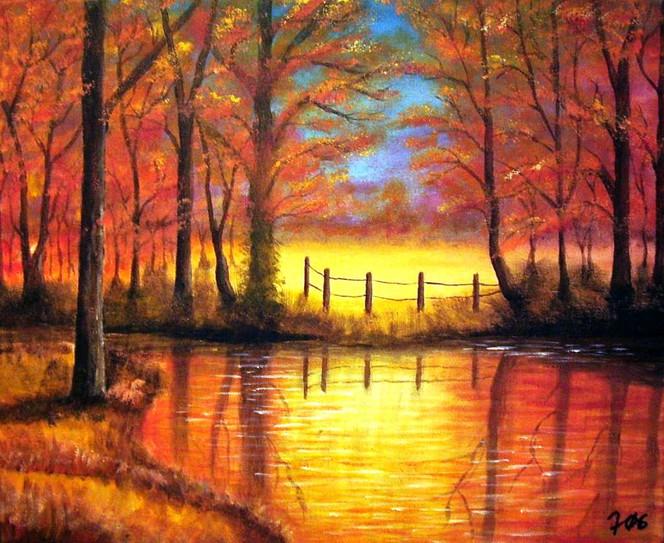 Landschaft, Malerei, Gelb, Rot, Ufer, Wald