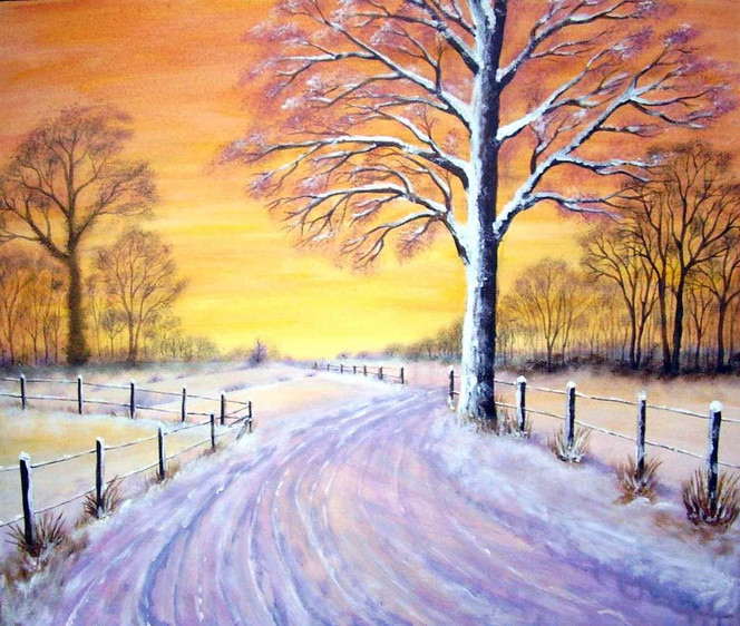 Landschaft, Malerei, Winter, Baum, Schnee, Winterlandschaft