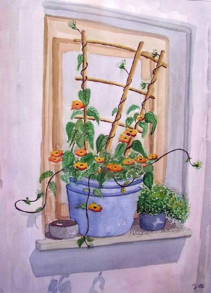 Sommer, Malerei, Stillleben, Blumen, Fenster