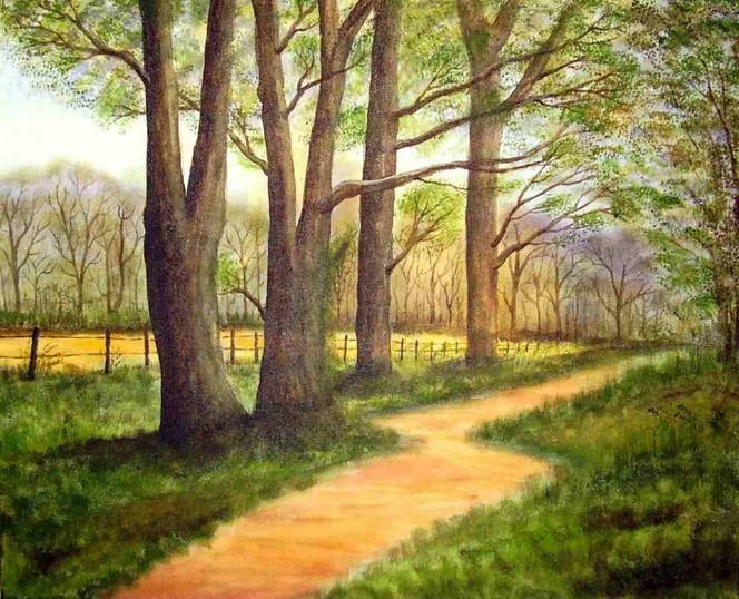 Malerei, Wald, Weg, Landschaft, Baum, Waldweg