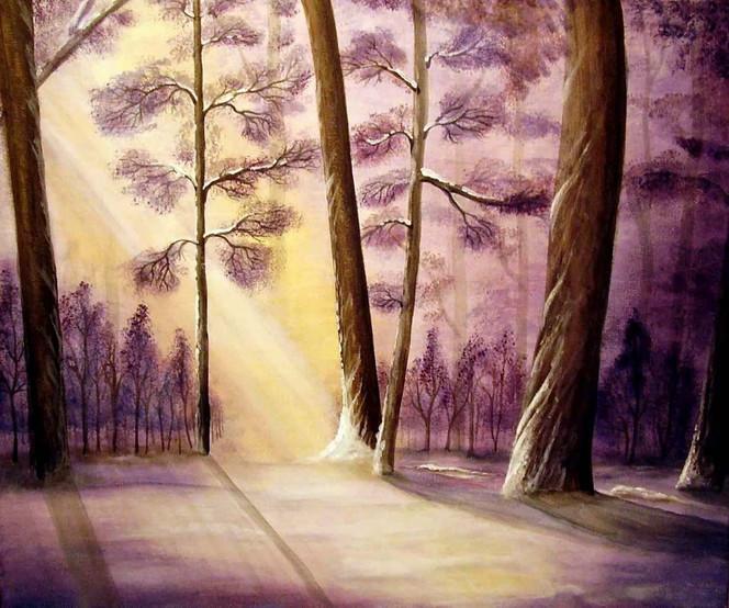 Landschaft, Wald, Baum, Malerei, Winter, Schnee
