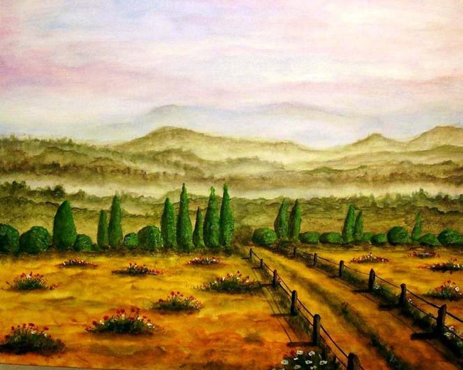 Malerei, Berge, Landschaft, Nebel, Morgen, Morgenstimmung