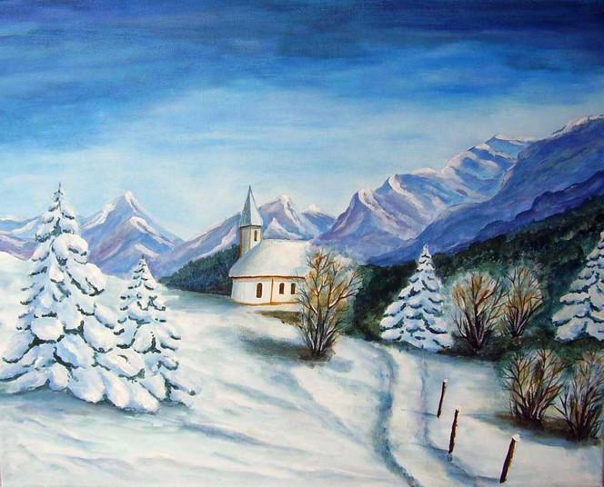 Landschaft, Schnee, Winter, Malerei, Kirche, Kapelle