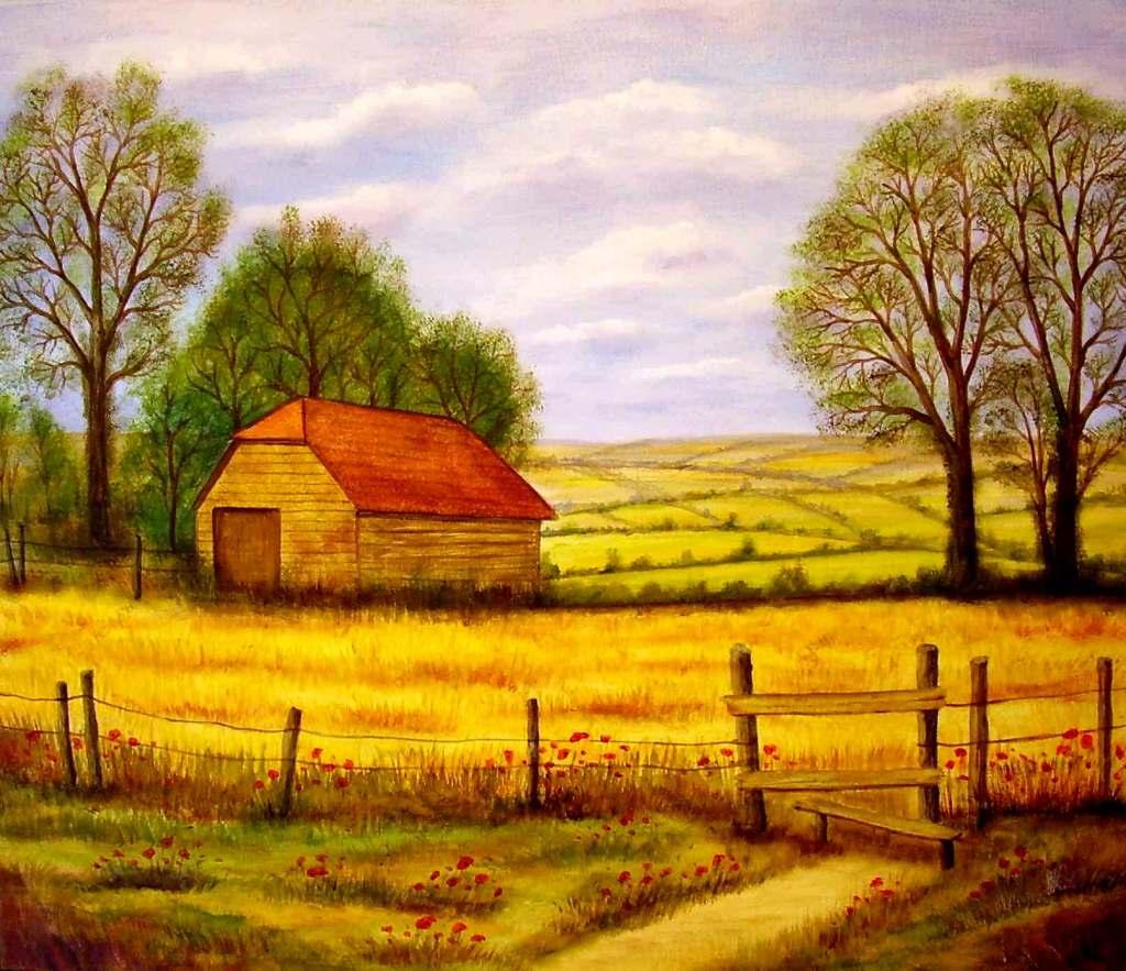 Bild landschaft feld gelb herbst von mike bei kunstnet for Vorlagen malerei