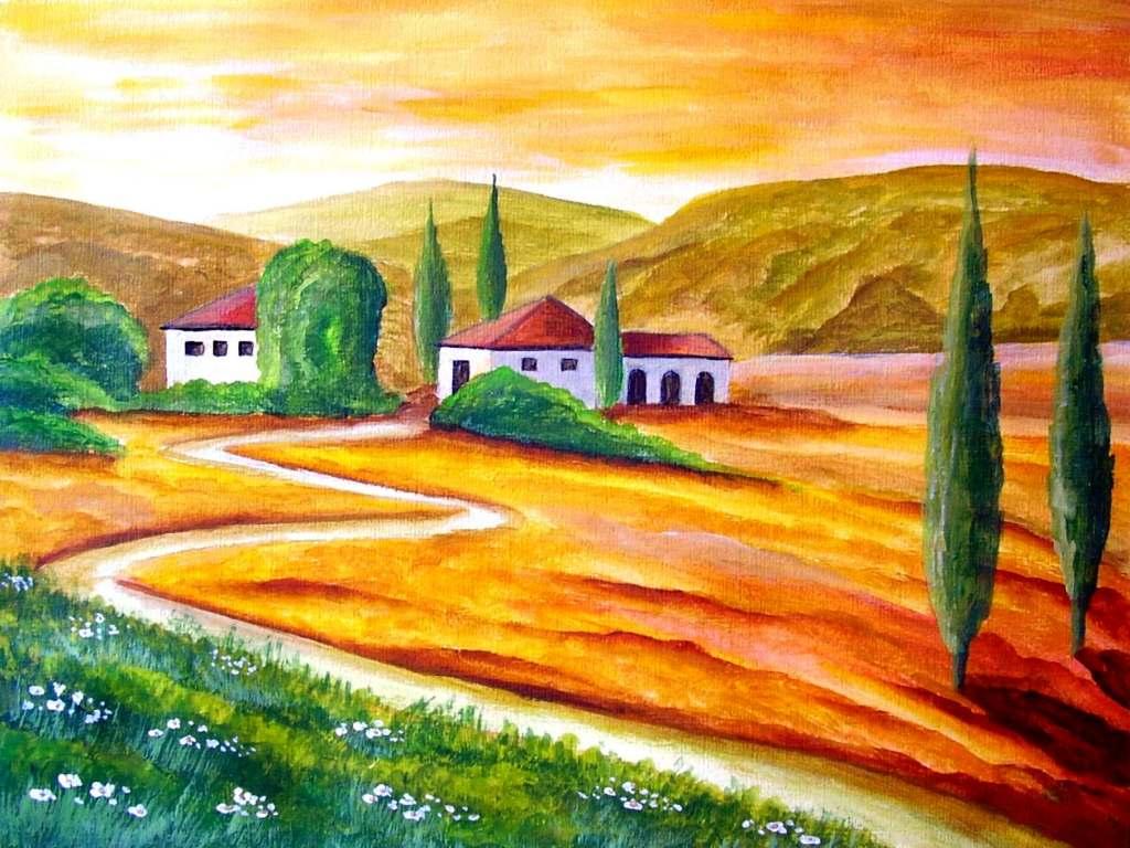 Toskana 5 landschaft toskana malerei von mike bei kunstnet for Moderne landschaftsbilder