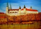 Schloss, Herbst, Wasser, Malerei