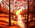 Abendstimmung, Malerei, Landschaft, Wald