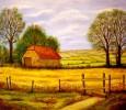Landschaft, Feld, Malerei, Gelb