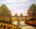 Landschaft, Malerei, Wald, Brücke
