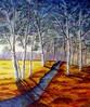 Landschaft, Birken, Wald, Bach