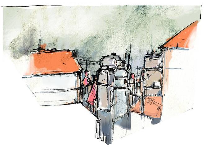 Farben, Digital, Zeichnung, Stadt, Perspektive, Pinnwand