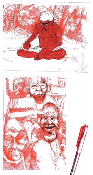 Sonnenbrand, Skizze, Zeichnung, Gesicht, Figur, Kopf