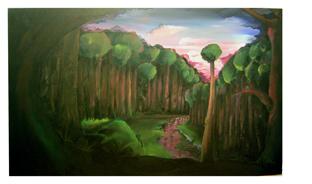 Malerei, Landschaft, Wald