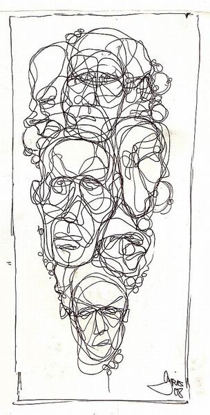 Oneliner, Konglomerat, Mix, Linie, Gesicht, Zeichnungen