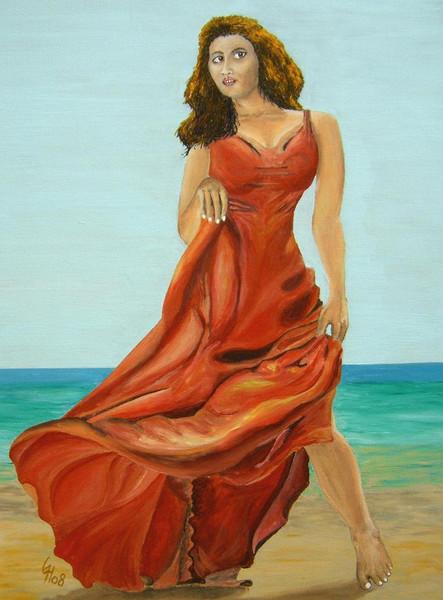 Meer, Frau, Figural, Acrylmalerei, Rot, Malerei