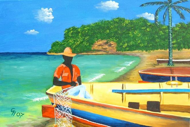 Landschaft, Meer, Acrylmalerei, Malerei, Fischer