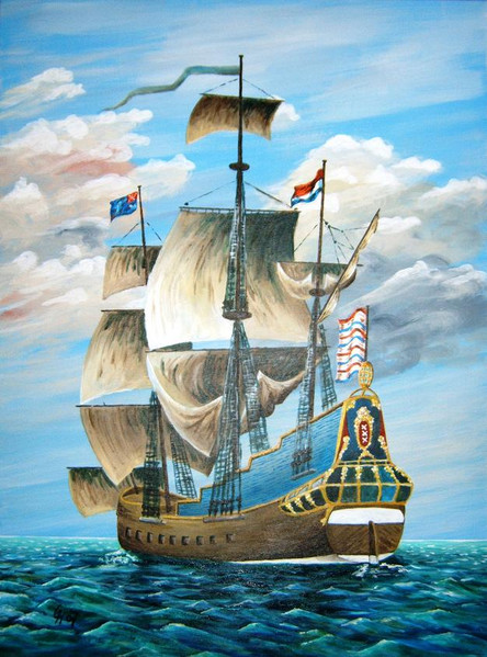 Holländische galeone, Malerei, Acrylmalerei, Schiff, Meer, Galeone