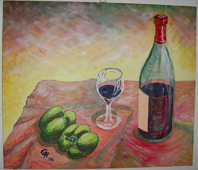 Acrylmalerei, Stillleben, Malerei, Paprika, Wein