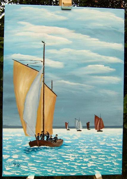 Acrylmalerei, Zeesen, Meer, Malerei, Regatta