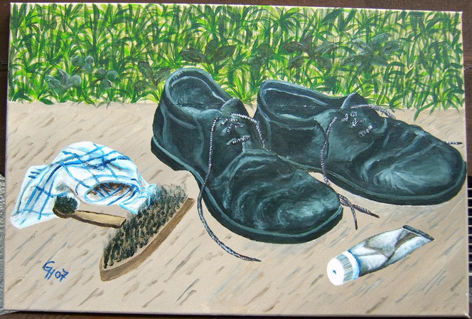 Acrylmalerei, Stillleben, Malerei, Schuhe