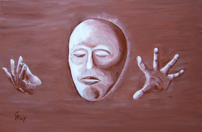 Abstrakt, Malerei, Acrylmalerei, Maske