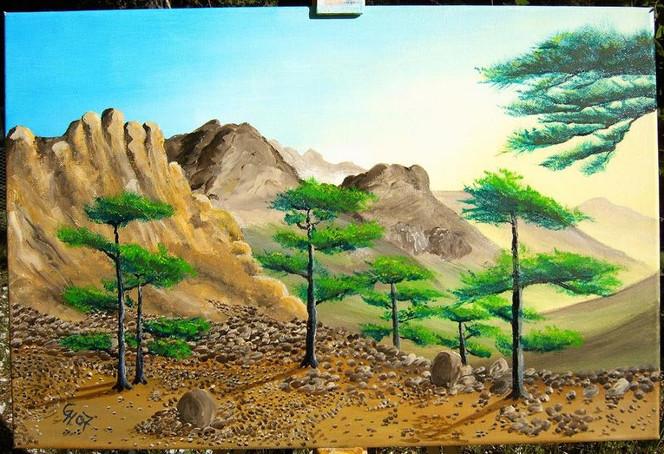 Malerei, Acrylmalerei, Landschaft, Wanderweg