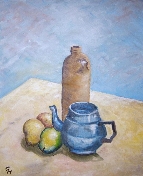 Malerei, Stillleben, Ölmalerei, Teekanne