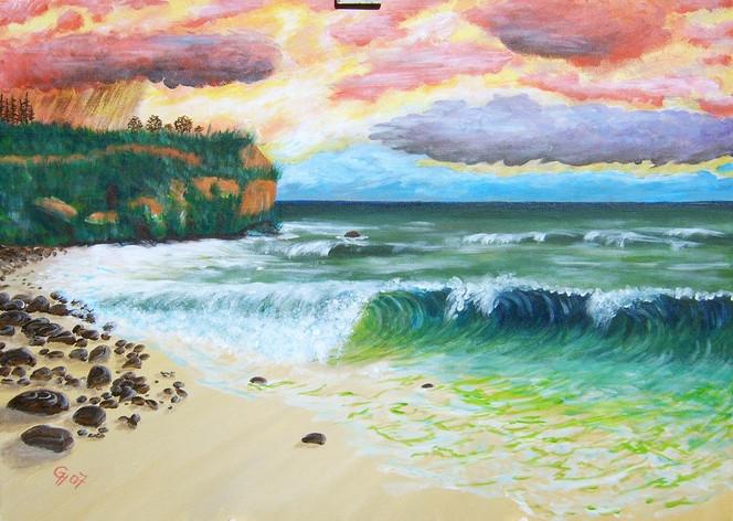 Malerei, Acrylmalerei, Landschaft, Meer, Strand