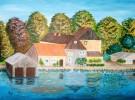 Landschaft, Acrylmalerei, Malerei, Häuser