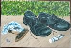 Stillleben, Malerei, Acrylmalerei, Schuhe