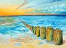 Wasser, Meer, Strand, Acrylmalerei