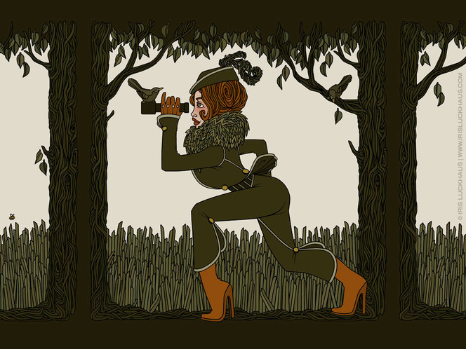 Plakatkunst, Baum, Gras, Jägerin, Mädchen, Frau